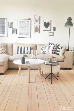 Some, cushions, coffee table, wall decor