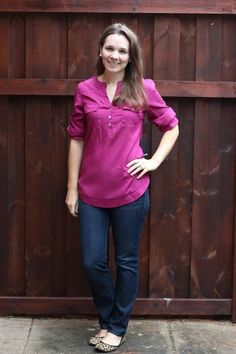 I can wear this!!   Need it without the breast pockets!!!  41Hawthorn Filbert 3/4 Sleeve Popover Blouse. Great work and casual piece.