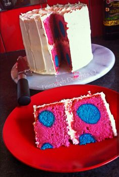 Surprise inside vanilla polkadot cake with vanilla frosting. Find me at www.facebook.com/feendishdelights