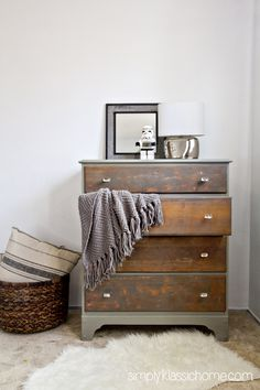 Two Toned Painted & Stained Dresser DIY