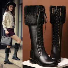 Womens Lace Up Cow Leather Knee High Boots Winter Warm Snow Fur Riding Shoes Wide Calf Boots, Knee High Boots, Cow Leather, Leather Shoes, Black Knees, Dress With Boots, Combat Boots, Lace Up, Snow