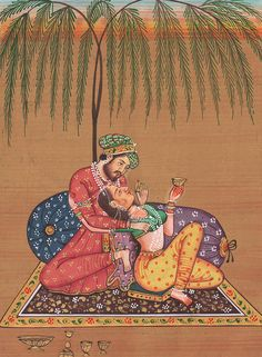 King of India Mughal Art of Love Kamsutra Under the Tree Paper Painting Artwork Drawing by M B Sharma Mughal Miniature Paintings, Mughal Paintings, Old Paintings, Indian Paintings, Rajasthani Painting, Rajasthani Art, Ancient Indian Art, Romance Art, Art Of Love
