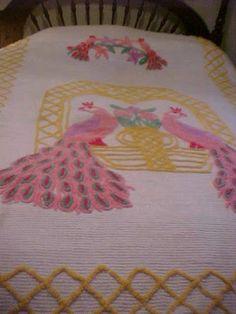 vintage chenille double peacock bird  bedspread bed spread smoky mountains