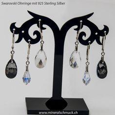 Swarovski Ohrringe mit 925 Sterling Silber Schmuck Online Shop, Amethyst, Sterling Silver Jewelry, Minerals, Rhinestones