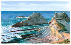 Santander, gouache Gouache, Costa, Landscapes, Places, Outdoor, Art, Watercolor Painting, Portraits, Paisajes