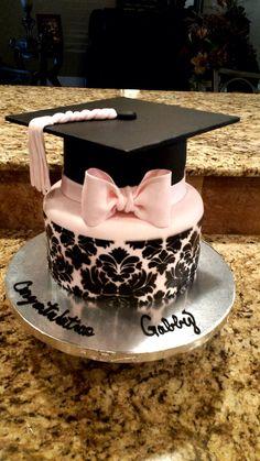 Damask Graduation Cake Damask Graduation cake!