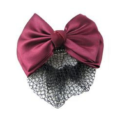 Woman Burgundy Two Layers Bowtie Accent Black Hairnet Hairclip ** Continue to the product at the image link.(This is an Amazon affiliate link and I receive a commission for the sales)