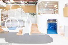 Nubo indoor playground in Sydney's inner-east is the first 'holistic' play area in Australia. The centre has a neutral colour palette, an art room, library and wholefood cafe. Playroom Design, Kids Room Design, Kid Playroom, Girls Bedroom Furniture, Kids Bedroom, Children's Clinic, Kids Indoor Playground, Fantasy Rooms, Teen Bedroom Designs
