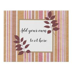 #Trendy stripes with area to write your own text faux canvas print - #trendy #gifts #template