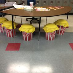 Popcorn inspired bucket seats for my teacher table. My classroom is movie themed so these were ideal! Easy to make !!