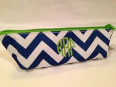 Monogrammed Chevron Pencil Pouch Navy and White