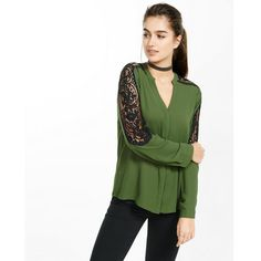Express Pieced Lace Notch Neck Blouse ($60) ❤ liked on Polyvore featuring tops, blouses, green, green lace top, lace top, long sleeve lace top, long sleeve lace blouse and green top