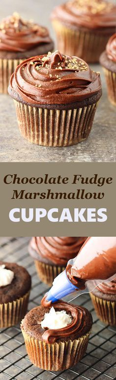 Chocolate Fudge Marshmallow Cupcakes | Posted By: DebbieNet.com