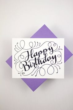 Happy Birthday one white card with a purple by HowjoyfulShop
