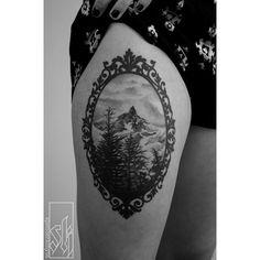 Mountain tree frame tattoo black ink