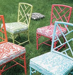 Thibaut Sweet Life - South Beach    Wonderful, colorful Chinese Chippendale chairs!