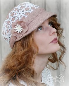 Pink Wool Cap Hat with White Lace Overlay by GreenTrunkDesigns #hat #lace
