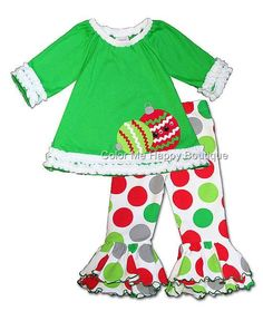 4370383602c0 Green CHRISTMAS ORNAMENT Pant set with jewel-embellished ornaments, ruched  felt trims and polka dot print ruffled pants - FABULOUS holiday outfit for  your ...