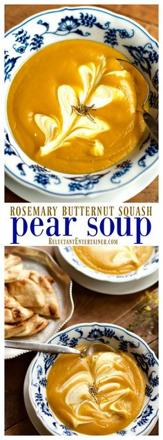 Rosemary Butternut Squash Pear Soup at http://ReluctantEntertainer.com