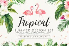 Welcome to Graphic Box :) --- Aloha:) I am so happy to introduce my new product, Summer Design Set - Tropical, this is a fresh collection about Summer, featuring watercolor flowers, tropical leaves, flower wreaths, flower bouquets as well as some stuff about summer - Popsicle, tropical animal and plants, summer fruits, this will perfectly fit