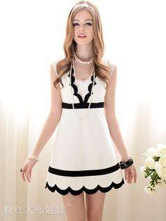 V-Neck Scalloped Dress, $82.00