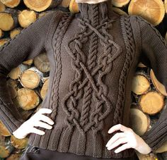 Free - Intricate cable panel. Ravelry: Cabled Sweater pattern by Bernat Design Studio