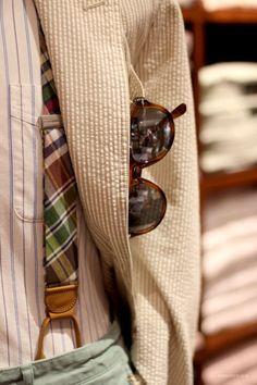 Men's braces/suspenders and seersucker blazer