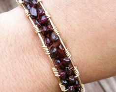 Garnet Chip Gold Filled Cuff