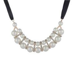 Europ Style Fashion Rhinestone Pearl Cloth Women Bib Necklace[US$6.13]shop at www.favorwe.com