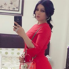 Haifa wehbe in red dress ❤ Haifa Wehbe, Pretty Dresses, Diva, Bodycon Dress, High Neck Dress, Style Inspiration, Formal Dresses, Red, Beauty