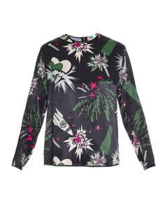 Explosion-print satin blouse | MSGM | MATCHESFASHION.COM UK