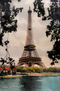 Eiffel Tower. Paris, France. Vintage postcard available as a print. http://www.roadrailandsea.co.uk/more/gallery-offer