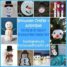 Snowman Crafts & Activities as featured on the Toddler & Preschooler Moms Pinning Party