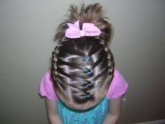 Hairstyles For Girls - Hair Styles - Braiding - Princess Hairstyles. Great for my girls crazy hair days :) Princess Hairstyles, Little Girl Hairstyles, Pretty Hairstyles, Braided Hairstyles, Kids Hairstyle, Toddler Hairstyles, Hairdos, Natural Hairstyles, Hairstyle Ideas