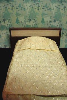 1958 Vintage MATTEL MODERN Danish BED w Bedspread Pillow Mid Century Barbie