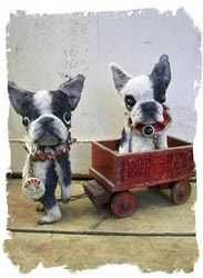 """""""felted"""" boston terrier & french bulldog by  Wendy Meagher...amazing, she got the eyes down perfectly"""