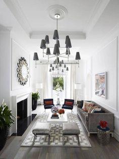 Living Room , Narrow Living Room Design Ideas : Narrow Living Room Design With High Ceiling And Large Chandeliers