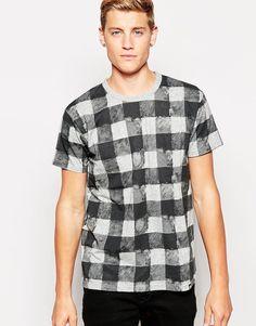 Imagen 1 de Camiseta de corte estándar con estampado de cuadros borrosos de Cheap Monday