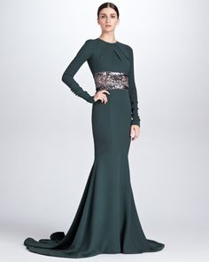 Long-Sleeve Embroidered Mermaid Gown  by Pamella Roland at Bergdorf Goodman.
