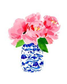 kartun Art Print: Peonies in a Ginger Jar Watercolor Flowers, Watercolor Paintings, Watercolour, Art Paintings, Original Paintings, Peony Print, Guache, Ginger Jars, Printable Wall Art
