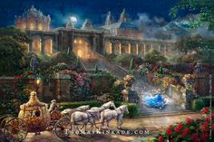 "Thomas Kinkade Studios Release, ""Clock Strikes Midnight"". Inspired by Disney's live action movie, ""Cinderella"""