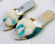 Vintage slippers 1950s 60s white rabbit fur Pom by LaMeowVintage, $25.00