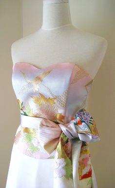 Wedding dress with vintage KIMONO top OBI bow sash belt gold brocade crane spring flower pastel pink blue cream A line made to order by Shantique on Etsy https://www.etsy.com/listing/116579166/wedding-dress-with-vintage-kimono-top