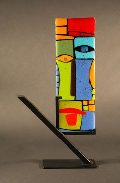 Reese by Vicky Kokolski and Meg Branzetti (Art Glass Sculpture) Glass Wall Art, Fused Glass Art, Wood Painting Art, Wood Art, Art Fantaisiste, Cubist Art, Motif Art Deco, Glass Fusing Projects, Art Prints Online