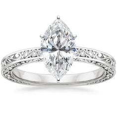 18K White Gold Delicate Antique Scroll Diamond Ring from Brilliant Earth