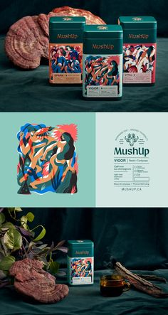 Branding & Packaging for MushUp company. Design Retro, Web Design, Label Design, Food Design, Branding Design, Package Design, Graphic Design, Tea Packaging, Bottle Packaging