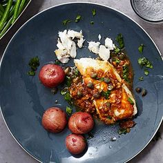 Halibut With Lemon-Caper Sauce | Fish is rich in protein and omega-3 fatty acids, so try these great recipes and eat up!