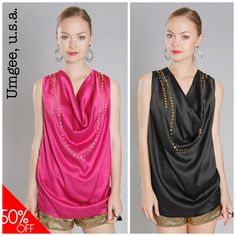 "Umgee USA Black or Magenta Gold Studded Charmeuse  ""Go To""  Drape Neck Top $38 97 