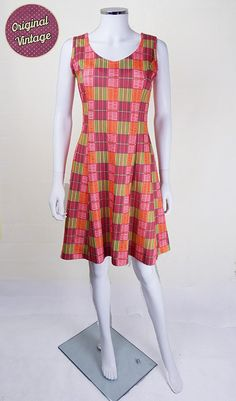 Make a colourful splash in this cute 70s summer #dress, approx modern day UK size 10.   Bright and zingy checks in coral, lime and lemon make a real 70s statement with this ... #vintage #retro #clothing #women