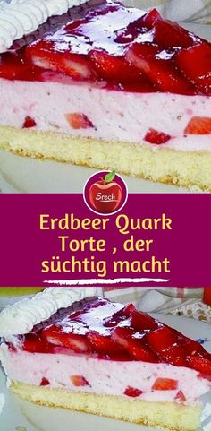 Strawberry curd pie that is Erdbeer Quark Torte , der süchtig macht Ingredients: for the biscuit base: 2 egg (s), separated 1 pinch (s) salt 2 tablespoons water, cold 60 g sugar 1 sachet vanilla sugar - Nutella, Frozen Pierogies, Biscuits, Bbq Chicken Sandwich, Cranberry Chutney, How To Cook Potatoes, Coconut Macaroons, Yellow Cake Mixes, Yummy Appetizers